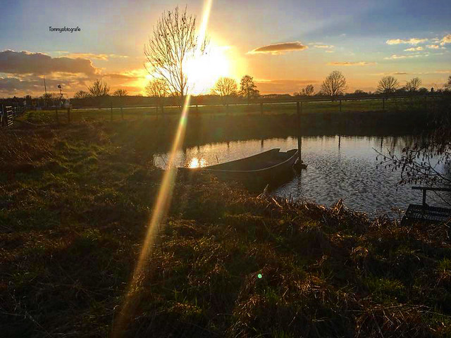 Rowingboat in the Sunset. Photo taken near Gennep, Limburg, Netherlands