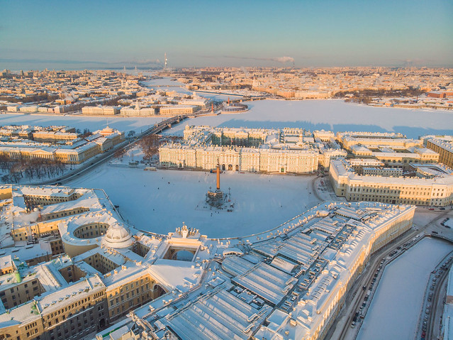 Palace square and Winter palace - The State Hermitage Museum winter air view