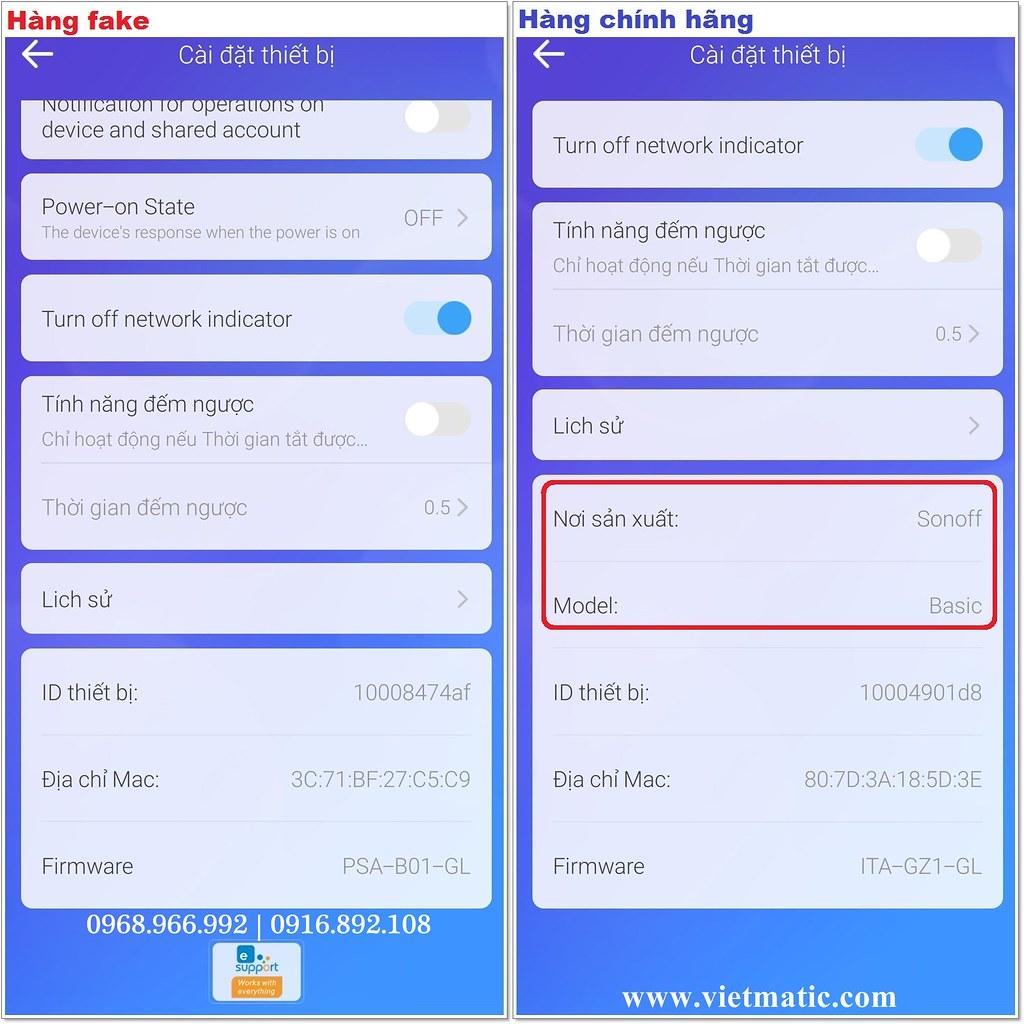 """Hàng nhái (trái) thương hiệu Sonoff không có thông tin về """"Nơi sản xuất"""" và """"Model"""" trong phần """"Cài đặt"""" của App eWelink"""