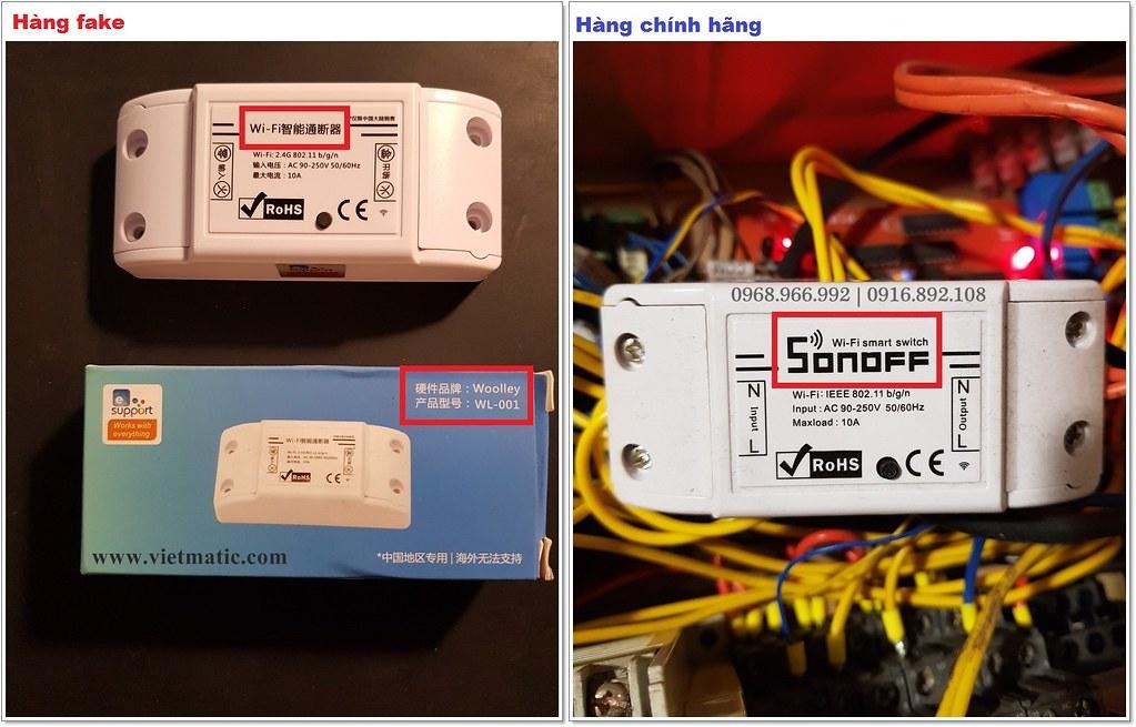 """Sonoff fake (bên trái) không có logo """"SONOFF"""" trên sản phẩm và thường chỉ có Tiếng Trung Quốc"""