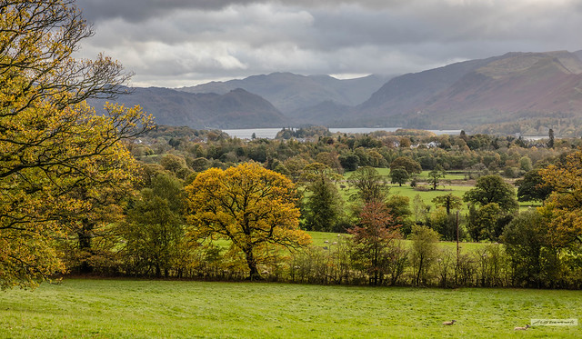Derwent Water and Fells from near to Applethwaite, north of Keswick, in Autumn.