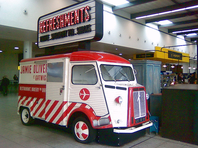 Citroen H van registered in France as 691HW89 now works in Gatwick Airport South Terminal