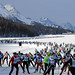 SILVAPLANA, 12MAR17 - Die langgezogene 'Marathon-Schlange' skatet bei Silvaplana ueber den Schnee. Impression vom 49. Engadin Skimarathon mit ueber 13'000 Langlaeuferinnen und Langlaeufer am 12. Maerz 2017.  Impression of the 49th Engadin Skimarathon, a cross country skiing race over 42 kilometres and more than 13'000 participants, in the Engadine Valley, Switzerland, March 12, 2017.   swiss-image.ch/Photo Andy Mettler