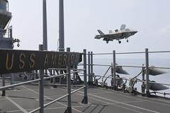 An F-35B Lightning II lands aboard USS America (LHA 6) during exercise Cobra Gold, Feb. 27. (U.S. Navy/MC1 Rufus Hucks)
