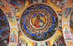 Rila Monastery, murals Mural paintings (ca. 1840-1846) on the facade of the church ... Christ the Almighty