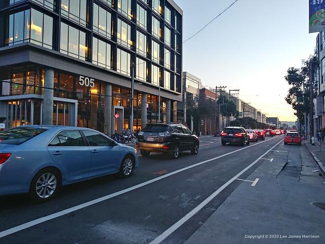 2020_02_26_Car Lane Packed - New Bike Lane Empty_180220