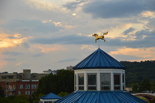 chattanooga tn tennessee august 2019 carousel weathervane horse windvane clouds sky sunset coolidgepark architecture