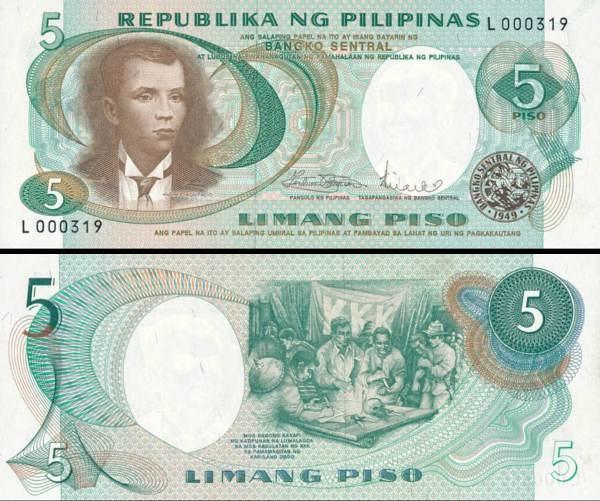 5 Piso Filipíny 1969, P143b
