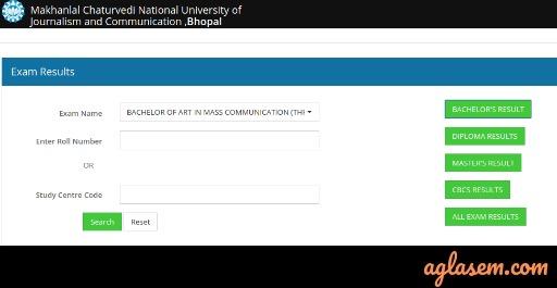 Makhanlal Chaturvedi University Result