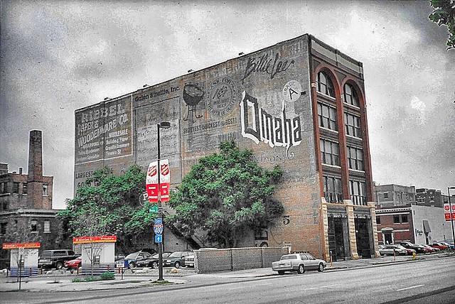 Omaha Nebraska  - Old Ghost Signs -  Riebel Paper Woodenware Co.  Wholesale - Omaha Advertisement