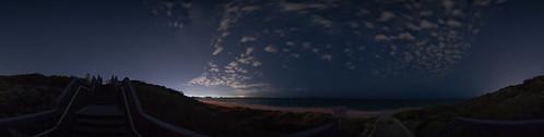 clouds stars milkywaybow beach stairs ocean fences grass rocks