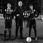 The new home kit was presented by Neil Wattie Managing Director of Sellars to Captain Keigan Mathers, flanked by Vice-Captain Harvey Taylor (left)