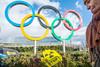 Keine olympischen Wettbewerbe in radioaktiv kontaminierten Regionen - Internationale Protestaktion vor dem IOC in Lausanne in der Schweiz