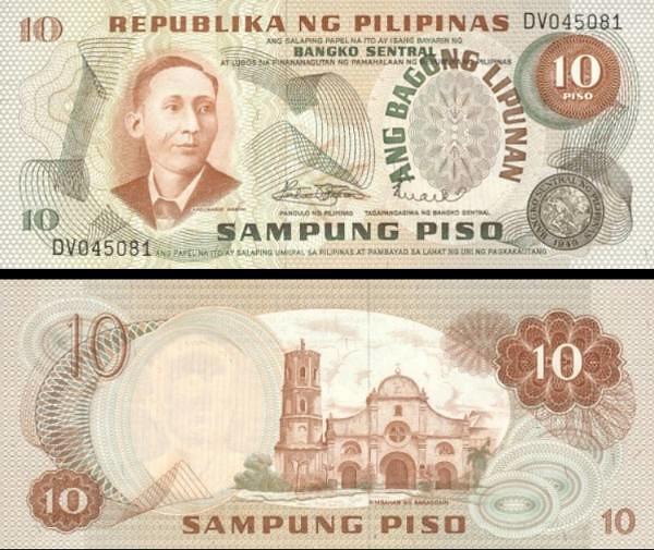 10 Piso Filipíny 1974 P154a