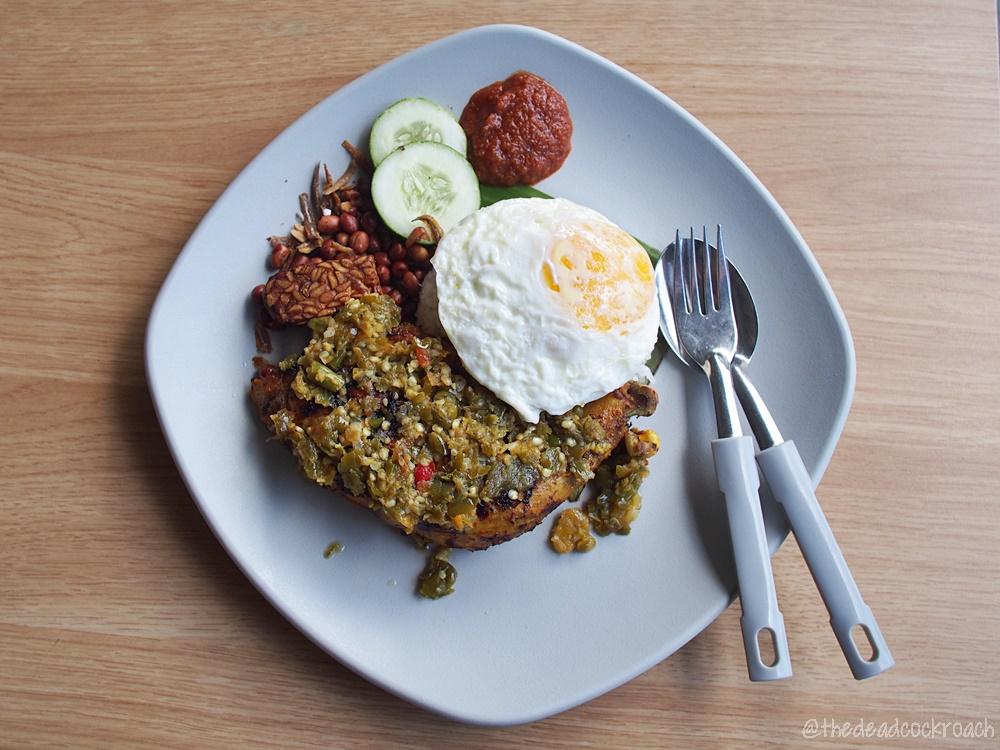 nasi lemak ayam taliwang, food, food review, review, singapore, yishun, yishun park hawker centre,halal, halal food, muslim, muslim food, nasi lemak,nasi lemak ayam cabe ijo