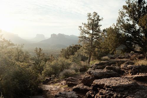 sedona arizona sunrise landscape sedonalandscape golden hour view misty lovely fujifilm fuji x100f light red rocks