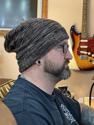This is Jeff (Jen's husband)'s second knit project and second hat! This one is is the Sockhead Slouch Hat knit with fingering weight yarn!