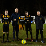 The new home kit was presented by Neil Wattie Managing Director of Sellars to Captain Keigan Mathers, flanked by Vice-Captain Harvey Taylor (left) and Coach Raymond Mathers (right).