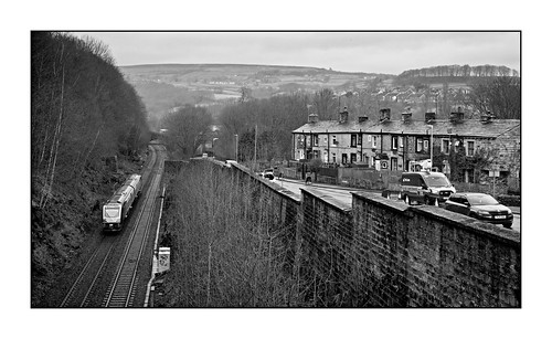 195012 class195 2020 caldervalley yorks westyorkshire luddendenfoot mono monochrome blackandwhite boymillroad pennines rain winter 1d75 caf dmu bw yorkshirestone residences houses thenorth cottages gritty