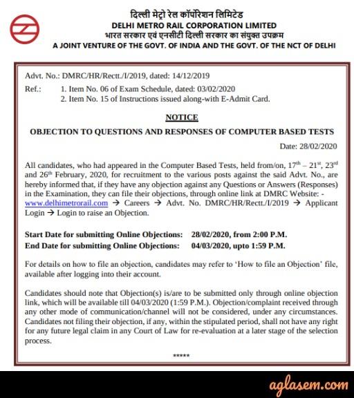 DMRC Answer Key 2020: Check Here
