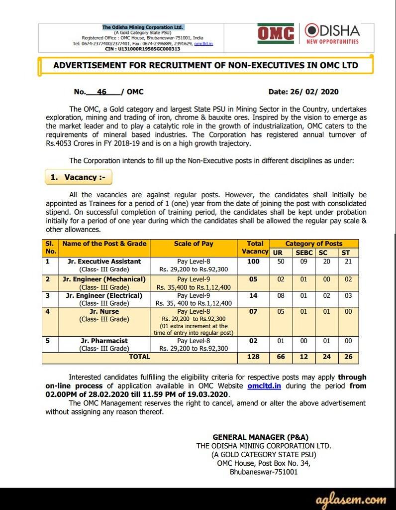 OMC Non Executives Recruitment Notification 2020