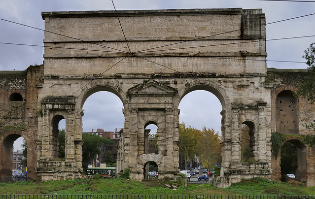 Porta Maggiore, 52 CE, supporting two ancient aqueducts - Esquilino, Rome.