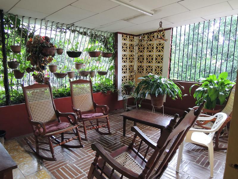Relaxing enclosed porch area at Hotel la Profe, Matagalpa, Nicaragua