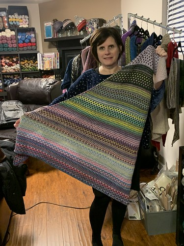 I love all of the Nightshift Shawls that have been knit! Here is Karen's all finished! Just beautiful!