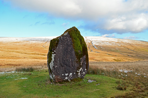 maen llia standing stone ancient celtic brecon beacons snow spring view landscape wales welsh countryside nature lichen moss