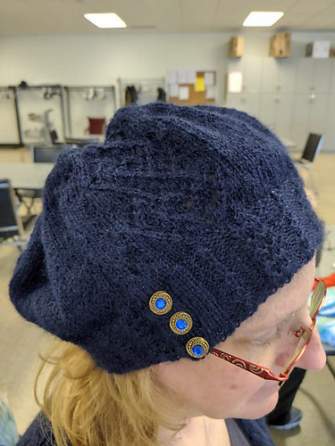 Linda has a lot of projects on her needles but she finished this Argyle Lace Hat by Laura Irwin