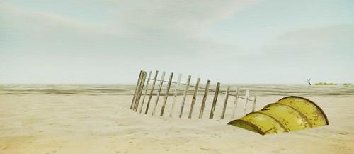 échoué sur la plage