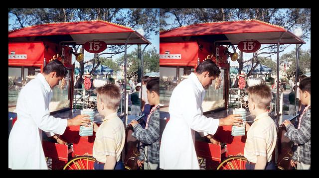 Popcorn vendor at the Hub - Disneyland - Anaheim, CA - 1957