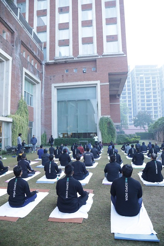 Corporate Yoga Session with Oppo team