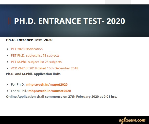 MU PET 2020 Application Form link shown