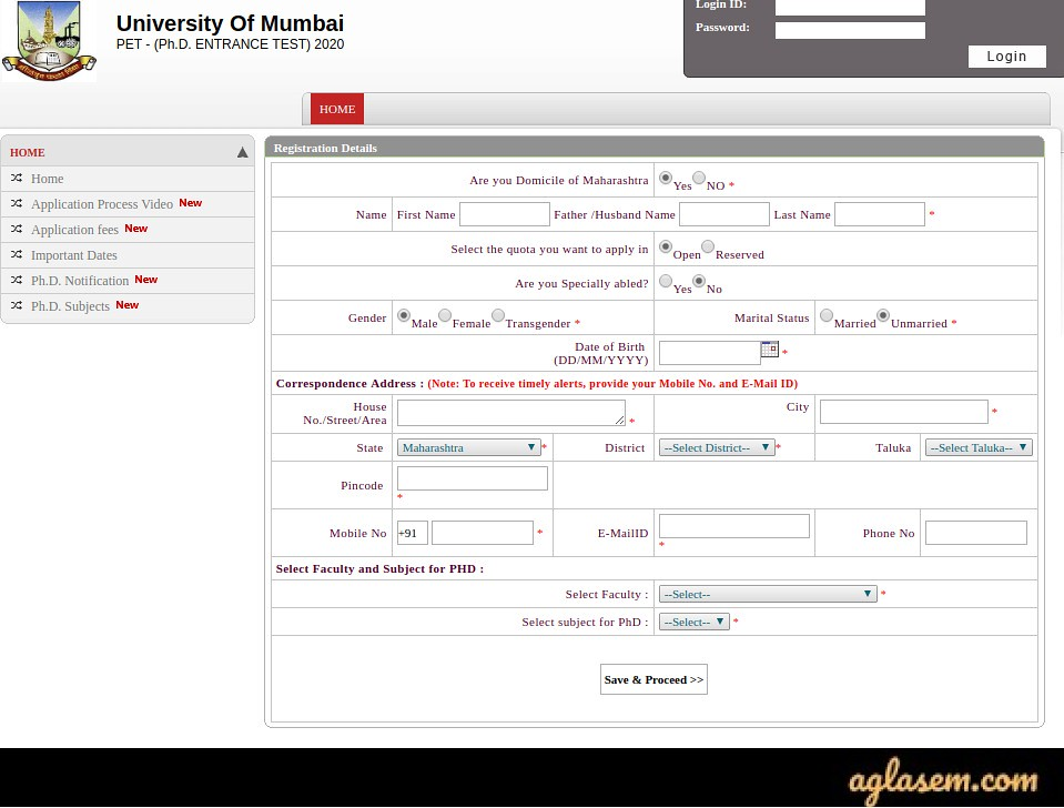 MU PET 2020 Application Form Registration