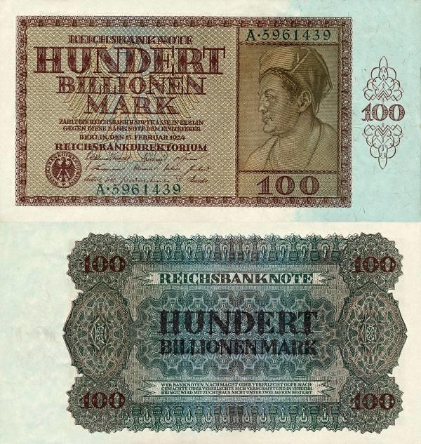 100 biliónov (100,000,000,000,000) mariek Nemecko 1924 - REPLIKA