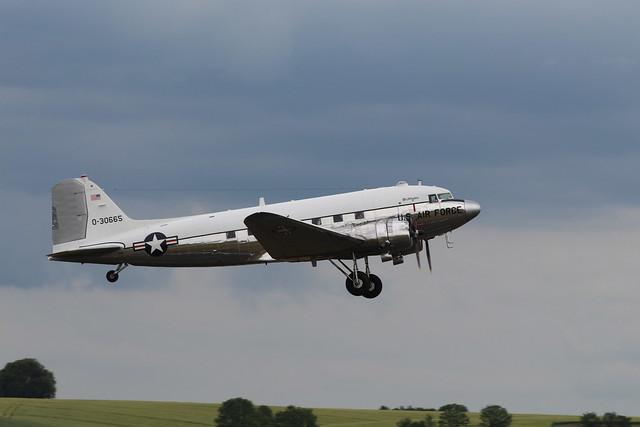 2019-06-05; 0363. Douglas C-47A-DL Skytrain (1943), N47E 0-30665, 'Miss Virginia'. Mass departure to Normandy. Daks over Normandy, Duxford.
