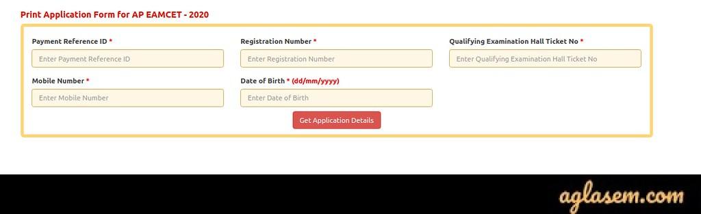 Printing AP EAMCET 2020 Application Form
