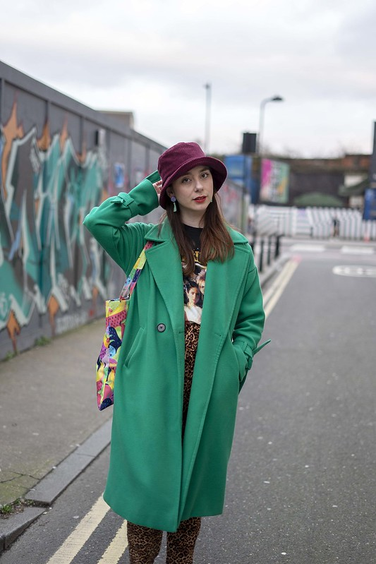 Green coat, bucket hat and labyrinth tee 2