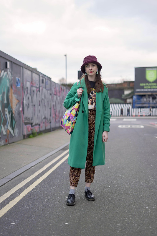 Green coat, bucket hat and labyrinth tee 3