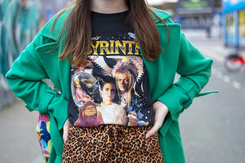Green coat and labyrinth tee