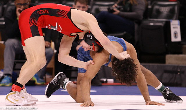 132AAA Semifinal - Ben Lunn (Shakopee) 46-2 won by major decision over Roman Gilbert (Eastview) 39-10 (MD 13-4) - 200229amk0098