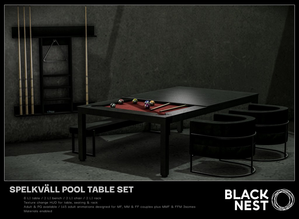 BLACK NEST | Spelkväll Pool Table Set | FaMESHed