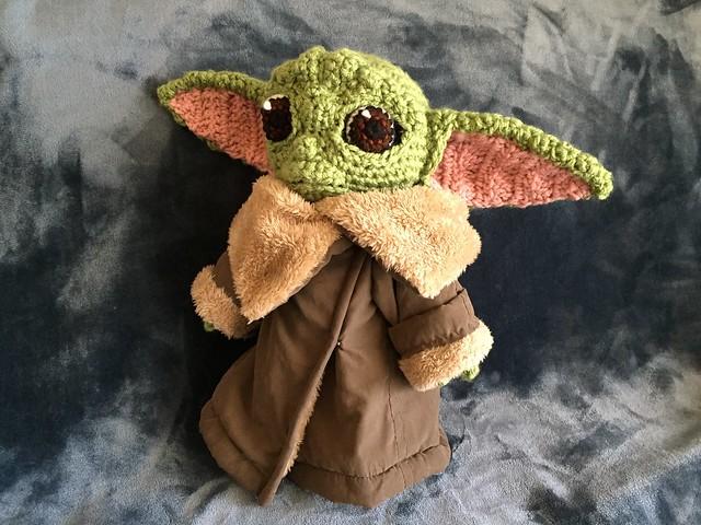 "The Child aka ""Baby Yoda"" doll I finished today #crochet #yarn #creepycute #handmade #doll #thechild #mandalorian #themandalorian #starwars #babyyoda #scuplture #art #sewing"
