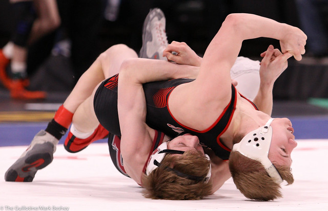 126AAA Semifinal - Joey Novak (New Prague) 46-8 won by decision over Pierson Manville (Shakopee) 54-4 (Dec 5-4) - 200229amk0076