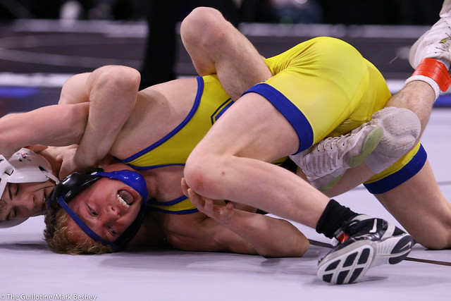 113AAA Semifinal - Blake West (Shakopee) 50-1 won by decision over Parker Janssen (St Michael-Albertville) 44-9 (Dec 3-1) - 200229amk0032