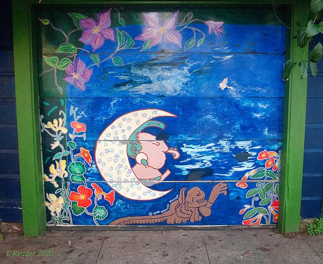 Mural on a Garage Door: 'The Moon' by Frances Valesco