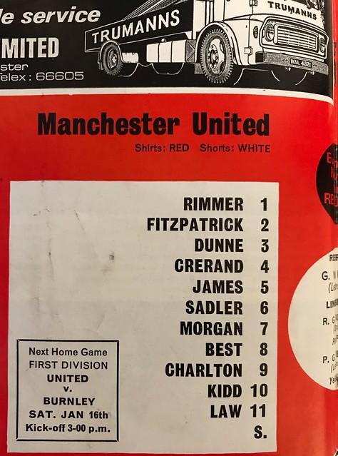 MUFC v Middlesbrough 2nd Jan 1971