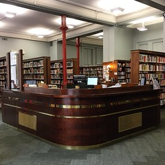 The refurbished central desk at the Melbourne Athenaeum Library 😍