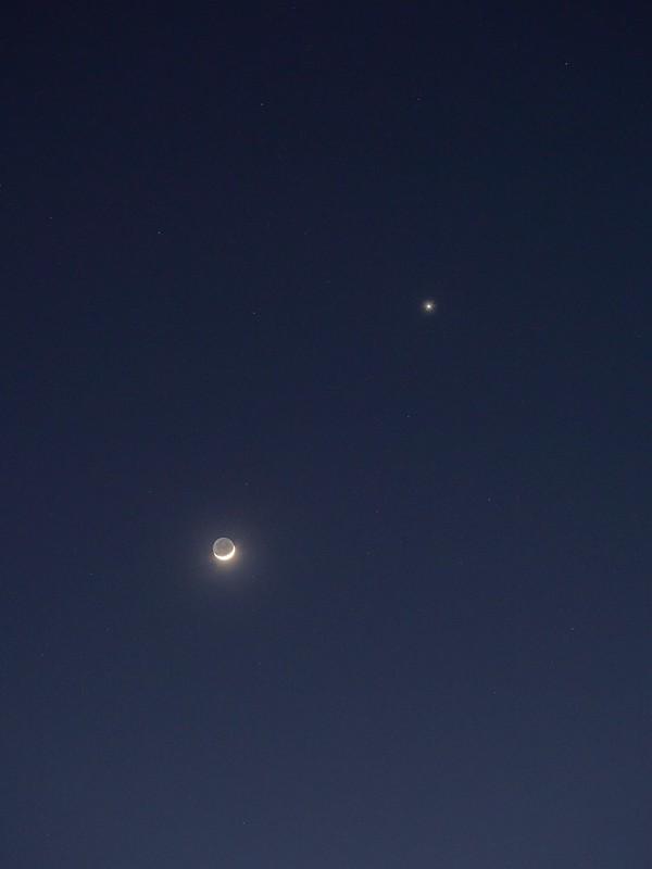 四日月と金星 (2020/2/27 18:22)